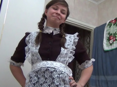 Aroused female friend in a maid outfit riding her boyfriend's pecker