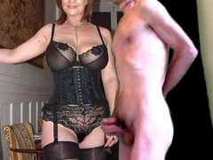 cuckold cum for aged breasty wife in stockings