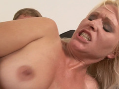 Aged Hungarian pornography slut gets nailed by a really excited dude