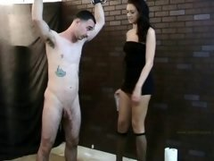 Alexis jerks him off on her leg while he's kilted up.