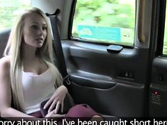 Blonde Brit gives rimjob & fuck in fake cab