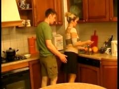 Man have an intercourse russian grown-up woman 45 yo at kitchen