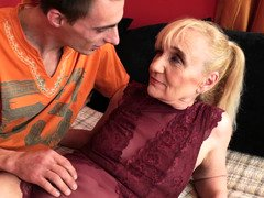 A granny is getting her aged fuck hole ravaged by a young and fresh desirous lad