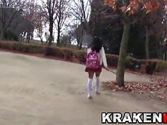 smoking hot schoolgirl provocating  on the streets, outdoor