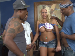 Buxom blonde slut gets blacked by a duo trouble-free monsters