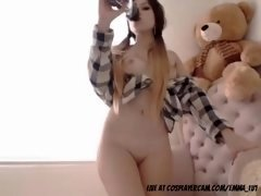 Breathtaking korean teen showing off for daddy