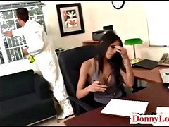 Donny Long gives gorgeous super hot sizeable tit secretary her number one
