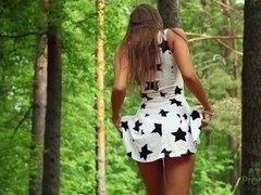 RUSSIAN BEAUTY MARIA MELENA PLAYING IN WOODS
