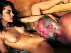 Youthful stunner pounded at a sauna by grandpa