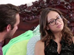 Hot thing with glasses is spreading her snatch lips so she could get dicked
