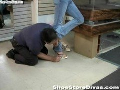 Dominant Gal in Shoe Store