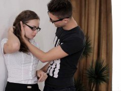 Virginal looking teenage in glasses turns to a real whore