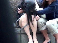 Asiatic slut pees outdoors