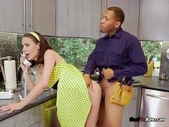 Cougar Mckenzie Lee Gets down and dirty And Blows Black Plumbers