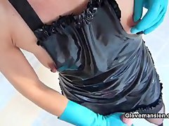 handjob with rubber glove 344