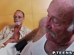 Latina fucked by grandpa while contemplated by old guys