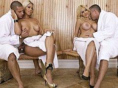 Breasty ladies get fucked in sauna