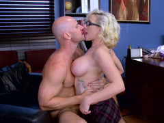 Blonde with glasses is getting a dick in her wet pussy today