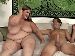 Glamorous plumper banged in missionary pose