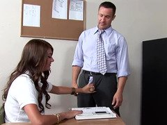 A slender lady with giant puffy nipples is licking her teacher