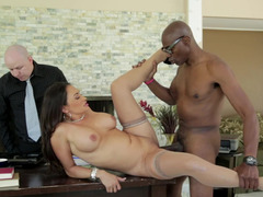 A hot model is getting fucked in the office next to her husband