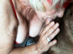 BLONDE GRANNY IN Lingerie PERFORMING THE COMPANY
