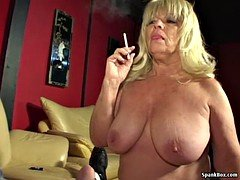 Large titted smoking granny sucks hard fuck tool