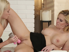 Cute blondes get downright dirty with their toys