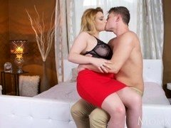 MOM Fleshy natural big tits Sexually available mom loves to play with younger men big cock