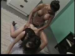 Kitty Yung and Satomi Ladypenis on Fake Penis pounding