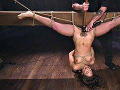Unshaved pussy sub fucked in invert bondage