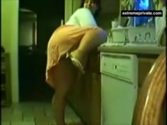 Kitchen quickie my Mother on spy camera