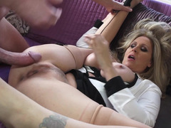 A hot blonde xxx star is spreading her legs so she could be humped