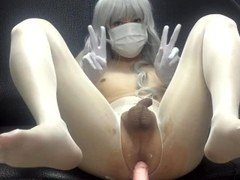 Chinese crossdresser cosplayer trap mechine anal fucked 男の娘 自慰