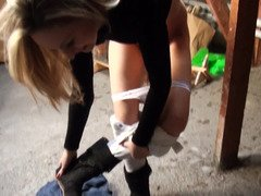 Nice-looking blonde got down in basement to blow fucker's love pole and fuck