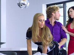 Sizeable titties of mind-boggling blonde maid were showered with cum