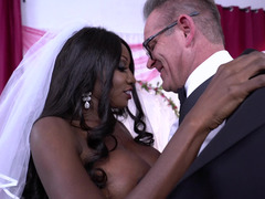 Man and moreover black bride with large boobs can't expect wedding night