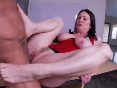 Mature female that has large bra buddies is getting penetrated in the office