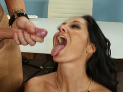 A busty slut with a sexy snatch is receiving cum in her mouth