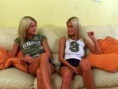 Horny twins anticipating a love pole