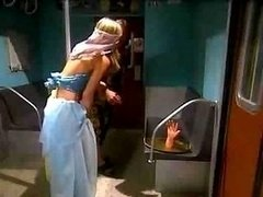 Sexy blond dancer nailed in train