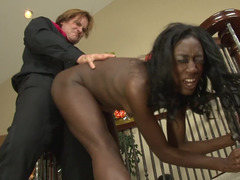 Ebony maid has to follow completely all the instruction of white lad