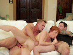 A redhead gets fucked by her husband too and too his pal too