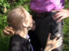 Awesome tiny hoe is getting fucked by her teacher in the park