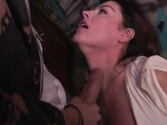 A hot innocent looking kitten is getting penetrated in the alley