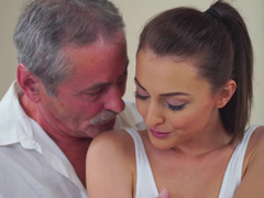 Aged guy has hot sex with his young sweet concubine