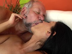 A grandpa that loves sexy whores with hot bums is kissing this one