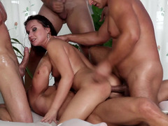 A group of men is fucking a pornstar that has some mean curves