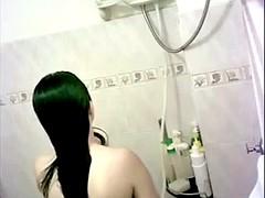 Chinese girlfriend takes shower