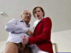 Sinful blonde slut in riding boots receives an old cock